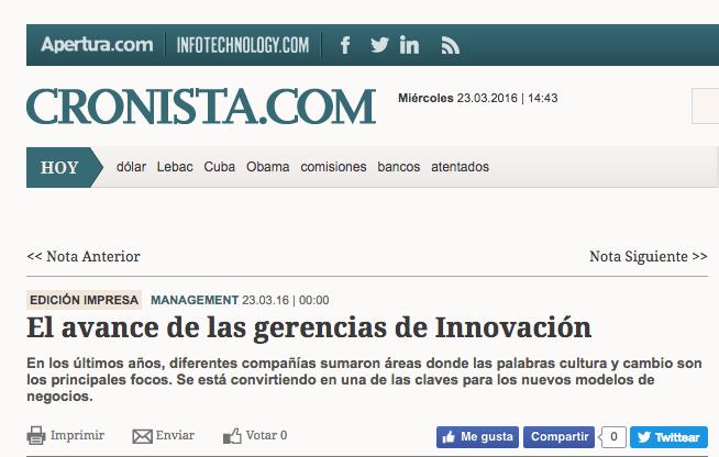 @El Cronista. El avance de las gerencias de Innovación